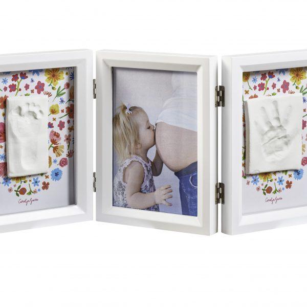 alt=Рамочка Baby Art Тройная с отпечатком ручки ножки малыша Белая двухсторонняя