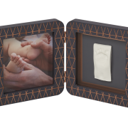 alt=Двойная рамочка Baby Art с отпечатком медно-темно серая